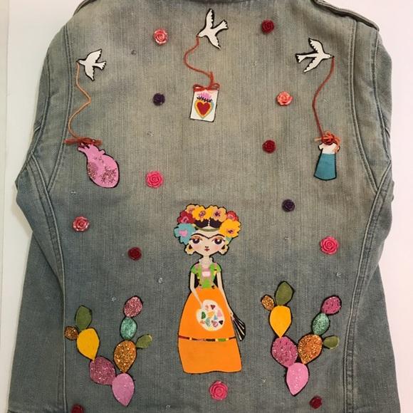 66b75f45a Handmade Frida Kahlo denim jacket
